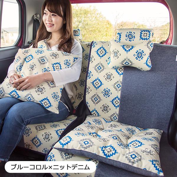 後部座席用シートカバー2枚セット(左右セパレートタイプ)(バンダナ付き)/ブルーコロル柄